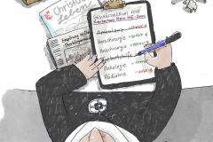 Karikatur für Mother Hood Regionalgruppe Rheinland-Pfalz, Geburtshilfe in Daun