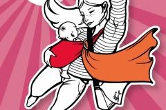"""Illu. + Grafikdesign, Powerparents """"Meine Heldin"""" für Mother Hood (ehem. Elternprotest Hebammenunterstützung)"""