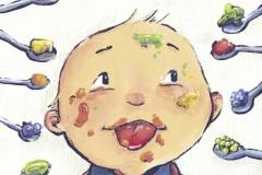 "Coverillustration ""Mein Kind will nicht essen"" von Carlos Gonzalez (La Leche Liga e.V 2018)"