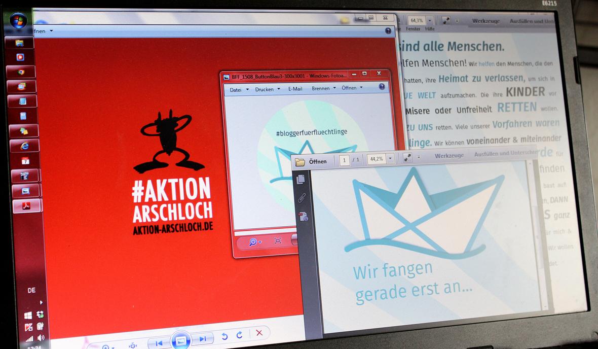 Aktion Arschloch, Blogger für Flüchtlinge