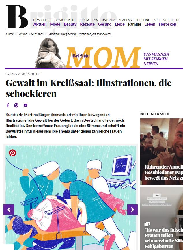 """Screenshot von Artikel """"Gewalt im Kreißsaal: Illustrationen, die schockieren"""" von Brigitte MOM"""