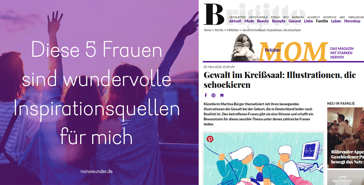 Headerbild zu zwei Artikeln über Martina Bürger, Nonawunder, Brigitte Mom
