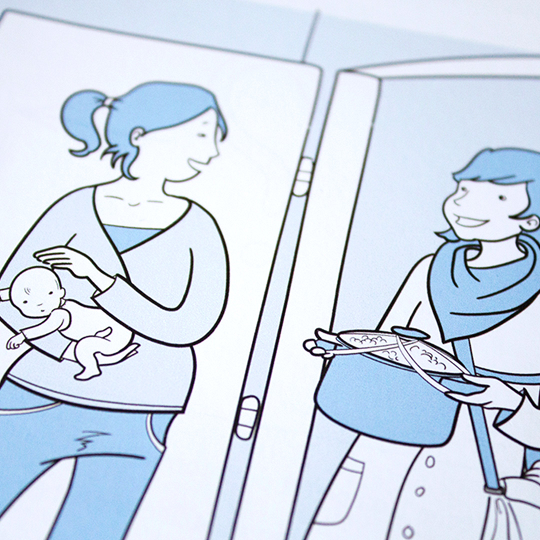 Illustration, Comic, Frau bringt großen Topf mit Essen für Frau im Wochenbett