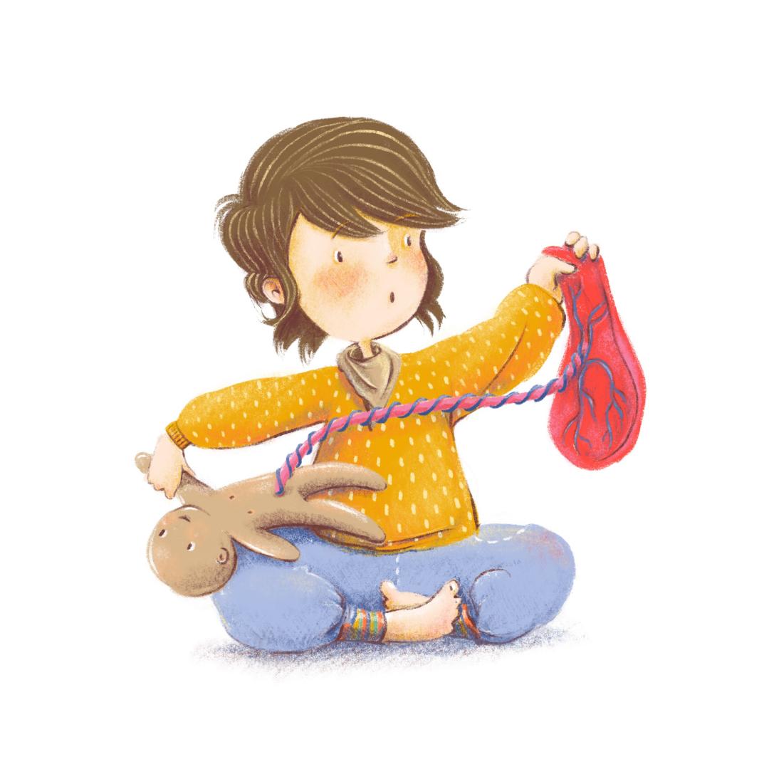 Freie Arbeit (Kinderbuch, Kindersachbuch, Editorial u.ä.) Szene aus einem sog. Geschwisterkurs zur Vorbereitung auf ein Geschwisterkind. Kind untersucht Stoffpuppe mit Plazenta.