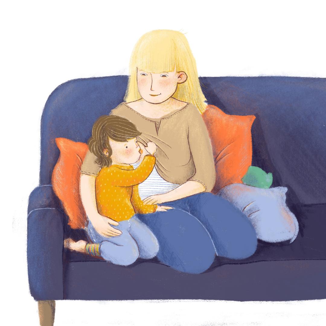 ein stillendes Kleinkind auf einem blauen Sofa Illustration