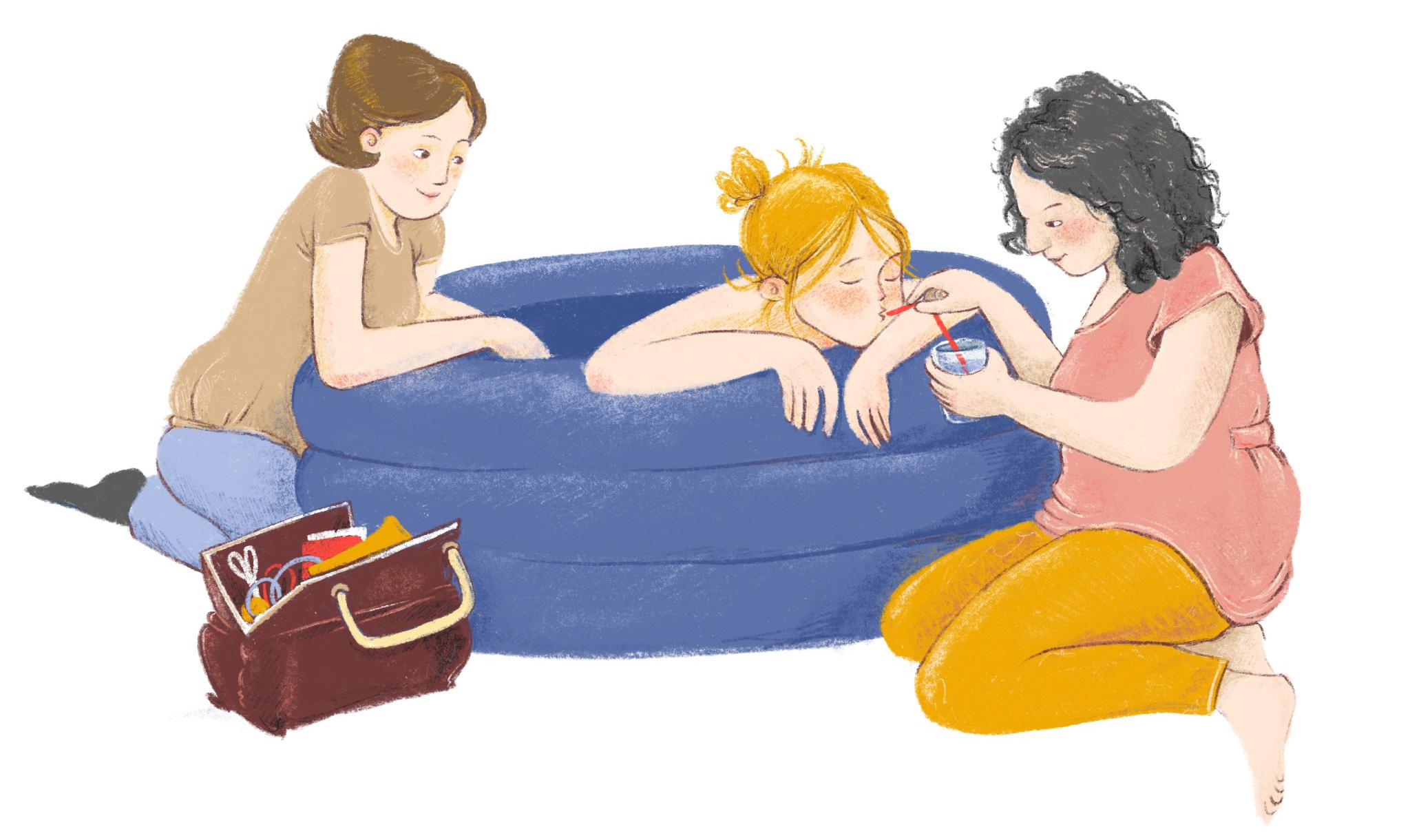 Hausgeburt im Geburtspool mit Hebamme und Doula Illustration